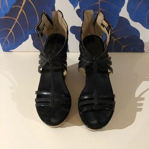 Nine West black wedge sandals